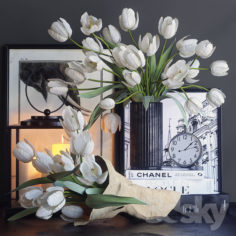 Decorative set with white tulips                                      3D Model