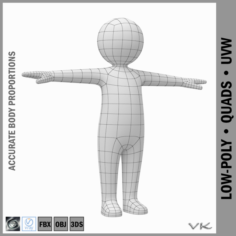 Toddler Stickman Character 3D Model