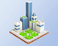 Low Poly City Block Skyscraper Buildings 3D Model