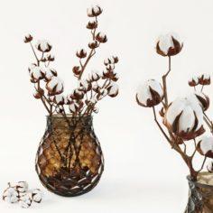 Cotton in a vase 3D Model