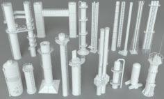 Industrial Tubes – 18 pieces 3D Model