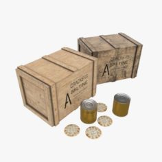 US Crackers Wooden Crate 3D Model