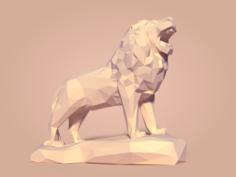 Low Poly Lion Statue 3D Model