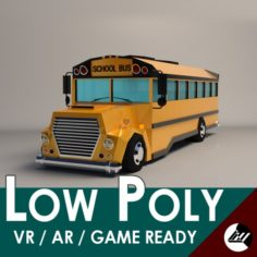 Low-Poly Cartoon School Bus 3D Model