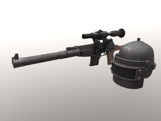 PUBG VSS and Helmet 3D Model