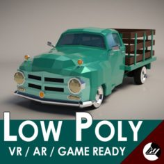 Low-Poly Cartoon Vintage Pickup Truck 3D Model