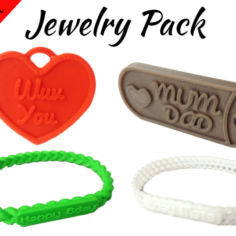 Jewelry Pack – Bracelet Wristband Pendant Military Dog Tag Heart 3D Print Model