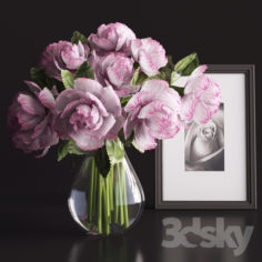 A bouquet of flowers in a vase                                      3D Model