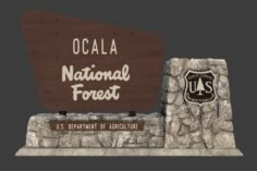 National Forest Stone Sign 3D Model