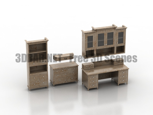 Country table shelves 3D Collection