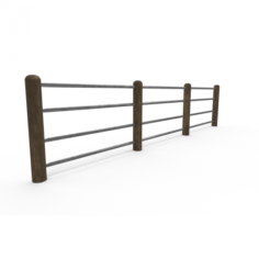 Seamless Road Fences 3D Model