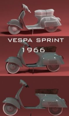Scooter Vespa sprint 1966 3D Model