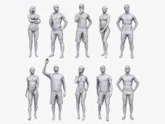 Lowpoly People Vacation Pack 3D Model