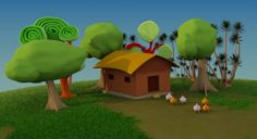 Cartoon House Scene 3D Model