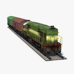Diesel Locomotive and Box Car 3D Model
