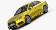Audi A4 S-Line 2016 detailed interior 3D Model