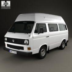 Volkswagen Transporter T3 Passenger Van High Roof 1980 3D Model