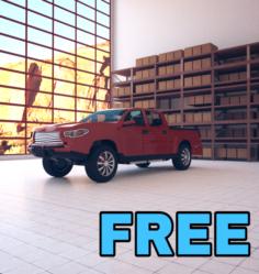 Red Pickup truck Free 3D Model