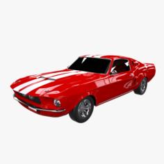 Mustang Red Car 3D Model