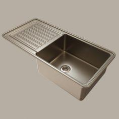 Stainless steel kitchen sink 3D Model
