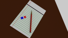Pencil note paper and eraser Free 3D Model