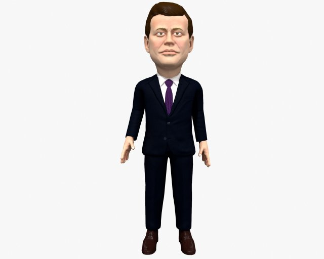 John Fitzgerald Kennedy JFK game ready rigged animated low poly 3D Model
