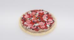 Mushroom Pizza On Plate 3D Model
