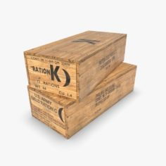 US K and C Rations wooden crate WWII 3D Model