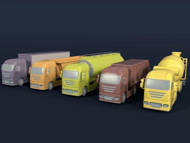 Cartoon Trucks 3D Model