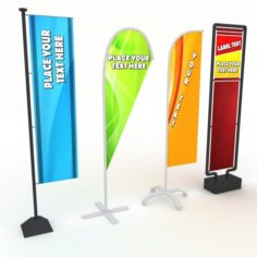 Banner stand low poly 3D Model