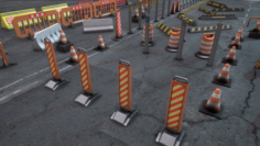 Geme props road signs and fences 3D Model