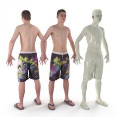 Beach Man A-Pose 3D Model