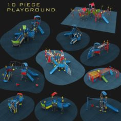 Outdoor Playground Collection 10 piece Set 3D Model