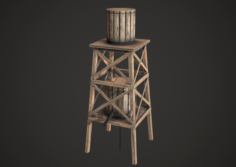Water Tower Low Poly 3D Model