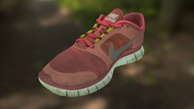 Worn Nike Free Run 3 sneaker shoe low poly model 3D Model