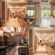 Restaurant Interior Set 01 3D Model