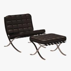 Mies Van Der Rohe Barcelona Chair and Ottoman 3D Model