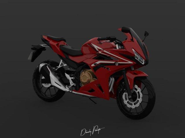 Cbr500r 2017 red model 3D Model