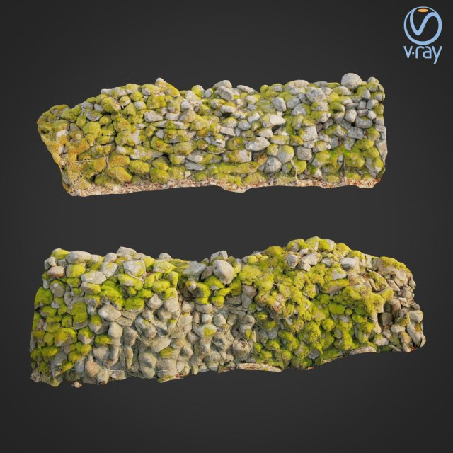 3d scanned nature stone wall C 3D Model