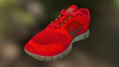 Worn Nike Free Run 3 sneaker shoe low poly 3D Model