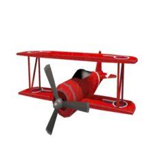 Biplane game ready 3D Model