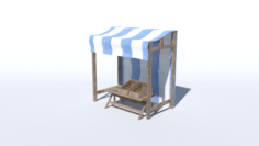 Medieval Stand Low Poly 3D Model