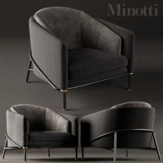 Armchair Minotti Fil Noir Black 3D Model