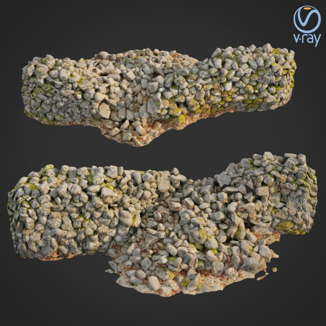 3d scanned nature stone wall E 3D Model