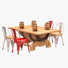 Barrel Dining Set 3D Model