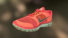 Worn Nike Free Run 3 sneaker shoe low poly model 3D Model