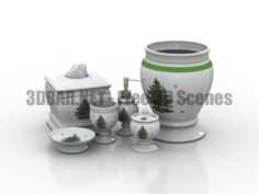 Avanti Spode Christmas Tree Bathroom accessories vases set 3D Collection