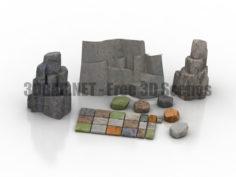 Stone paving tiles alpine garden 3D Collection