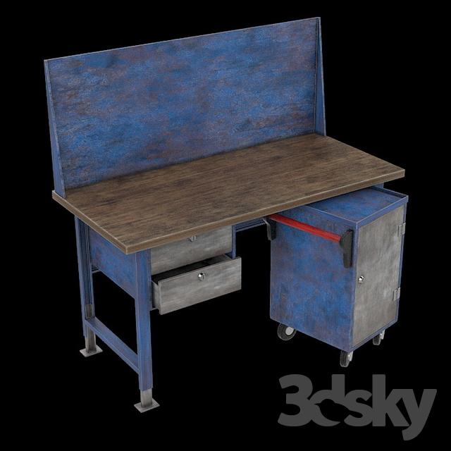 Admirable Workbench Free 3D Model 3Dhunt Co Evergreenethics Interior Chair Design Evergreenethicsorg