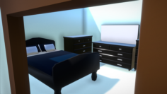 Elegant Low Poly Master Bedroom Set 3D Model